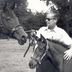 Woody Asbury and horses, 1981