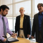 The college's admissions director, Jonathan Orsini, left, with CVM admissions committee members Dr. Richard Carpenter and Dr. Mark Scribano prior to a committee meeting Jan. 27.
