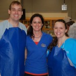 Drs. Michael Dark, Kendra Stauffer and Lisa Farina are shown prior to a necropsy lab they conducted as part of the foreign animal disease course.