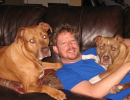 Larry Ferguson of Gainesville with his two dogs, Max and Whiskey