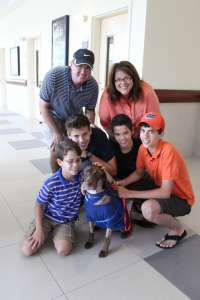 The Schmitt family with Cali.