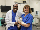 Veterinary student Cleon Hendricks, with Dr. Julie Levy. Hendricks participated in the tail vaccination study through the Merial Veterinary Scholars program.