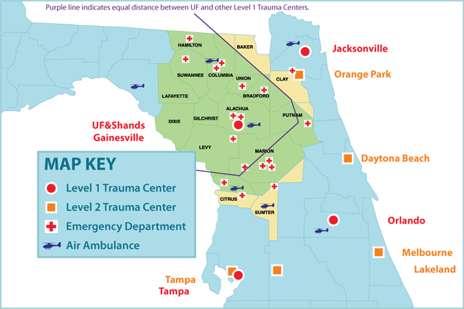 Shands Trauma Area Map