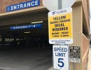 While in the parking garage, the posted speed limit is 5 mph. This is enforced at all times for the safety of our patients, staff and visitors who use the garage.